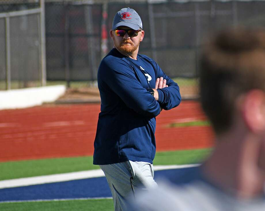 Johnathon Haddock finally got the chance to officially be the new head football coach for Plainview with the beginning of summer workouts that kicked off this week at Greg Sherwood Memorial Bulldog Stadium. Photo: Nathan Giese/Planview Herald