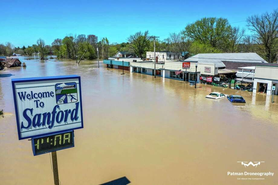 On May 19, many Village of Sanford businesses that had thrived for years, even decades, were decimated with the rush of flood waters resulting from the failure of the Edenville and Sanford dams. (Photo provided/Patman Droneography)
