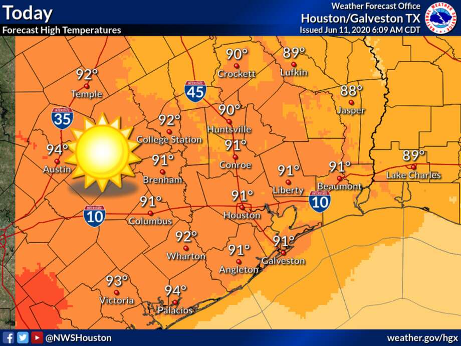 Dry, hot weather is expected in Houston on Thursday, June 11, 2020. Photo: National Weather Service