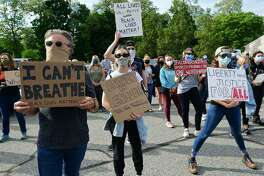 A crowd of near two hundred gathered along route 7 at Our Lady of Fatima Catholic Church in Wilton on June 2, 2020, to protest police brutality.