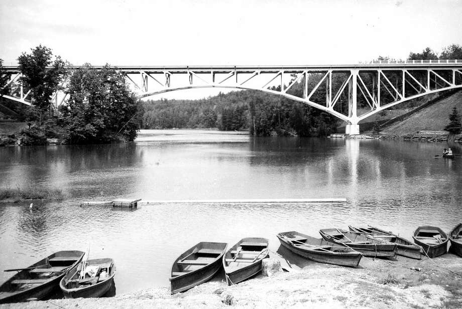 This 1935 photograph shows the new Cooley Bridge which is located on M-55 shortly after it was constructed.