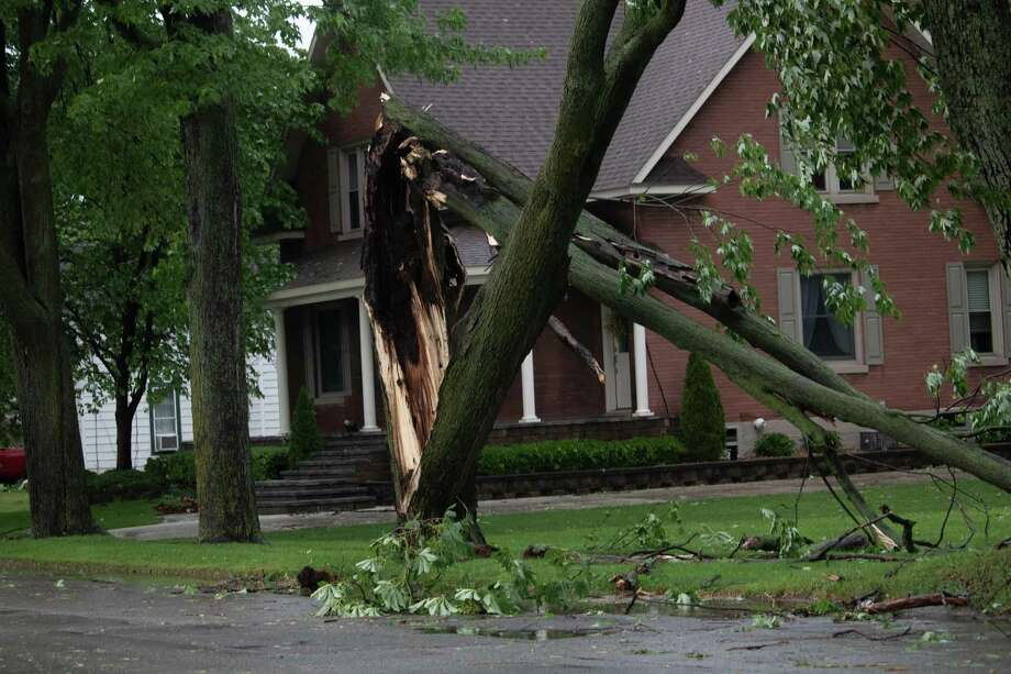 Trees, branches, and leaves lay scattered in streets and yards in Pigeon June 10 after a thunderstorm swept through the Thumb region. Photo: Aurora Abraham/Huron Daily Tribune