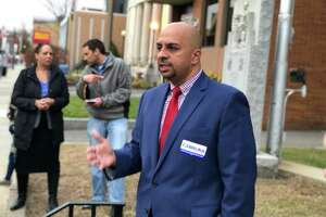 Jorge Cabrera, Democratic candidate for the 17th state Senate district, held a rally calling for transparency and integrity in the race's ongoing recount Monday in Ansonia.