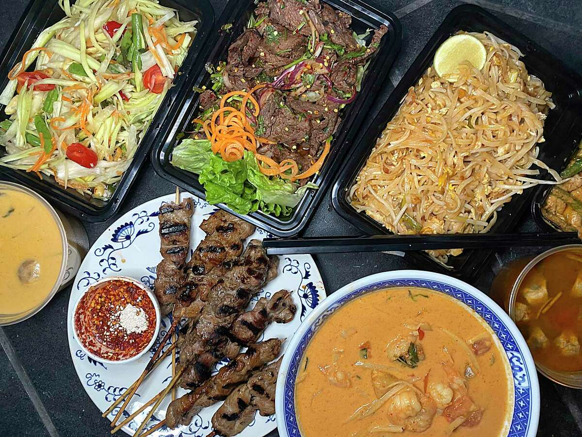 Thai Dee on Blanco Road is focusing on takeout orders during the COVID-19 pandemic, with dishes like, clockwise from top left, papaya salad, beef salad, pad Thai, tom yum soup, Thai Dee curry with shrimp, moo ping grilled pork skewers and tom kha soup.