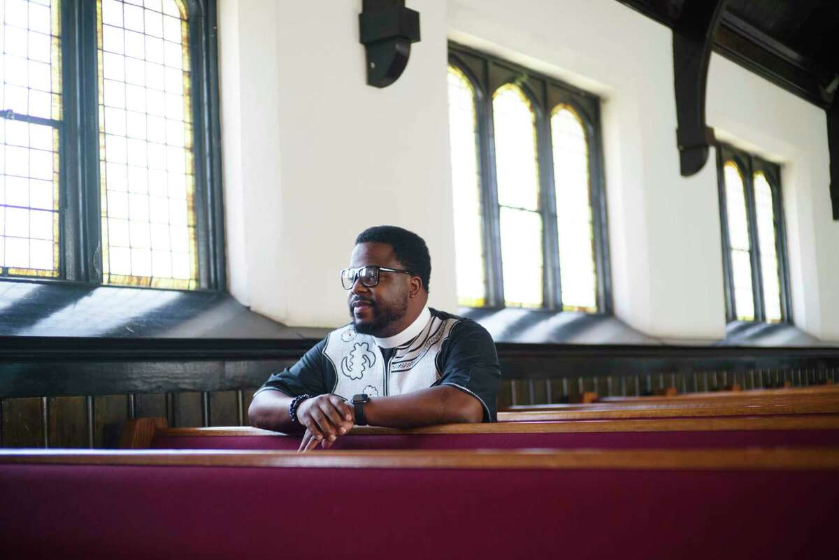The Rev. George William Whitfield poses for a photo at his church, 5th Ave AME Zion, on Monday, June 8, 2020, in Troy, N.Y. (Paul Buckowski/Times Union)