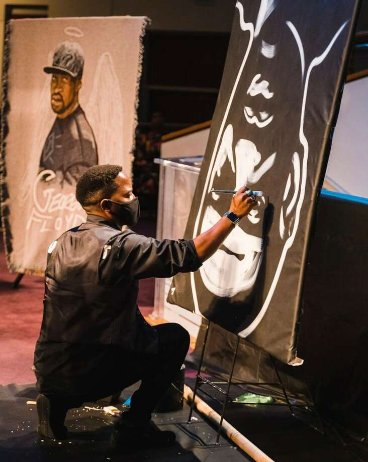 Speed artist Ange Hillz creates a portrait of George Floyd during his funeral on Tuesday, June 9. Photo: Courtesy: Ange Hillz