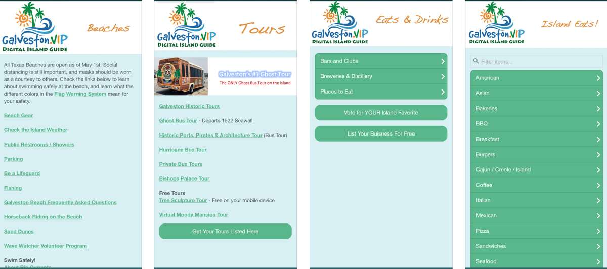 Here's a preview of what the new mobile-friendly Galveston Digital Guide looks like for iPhone users.
