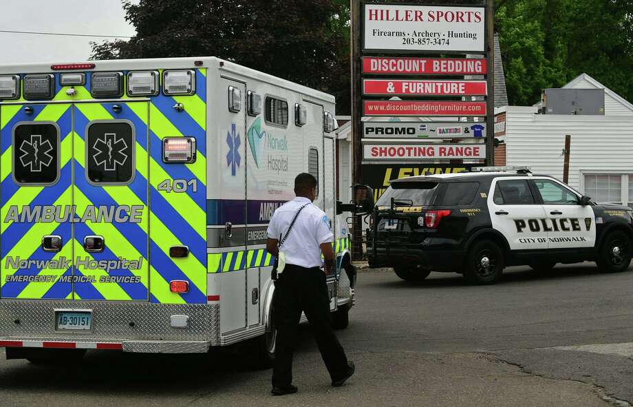 Emergency personnel respond to Fairfield County Archery and Guns on New Canaan Ave Thursday, June 11, 2020, where an individual was killed from a self inflicted gunshot wound at the range in Norwalk, Conn. Photo: Erik Trautmann / Hearst Connecticut Media / Norwalk Hour