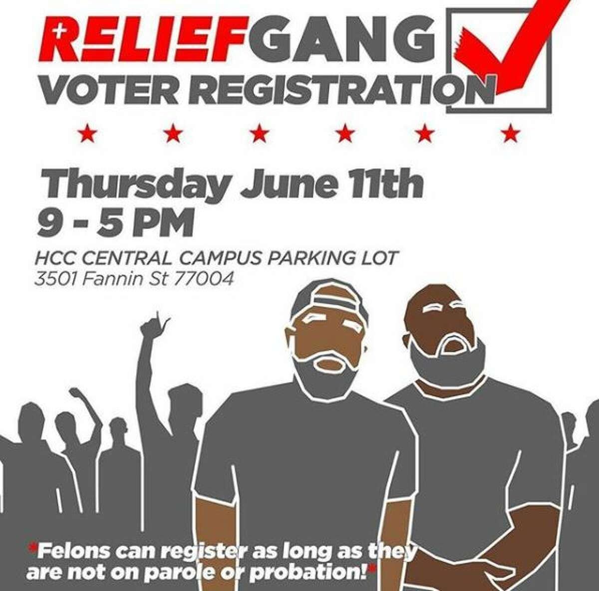 Houston rapper and activist, Trae tha Truth is holding a voter registration drive Thursday at the Houston Community College's Central Campus parking lot on 3501 Fannin Street. The Relief Gang Voter Registration Drive is being held from 9 a.m. to 5 p.m.