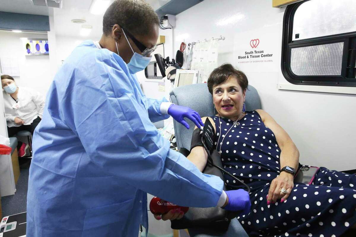 """Dina Murphy said the staff at the plasma donation center are the """"best pokers"""" in town, and giving plasma doesn't take much time."""