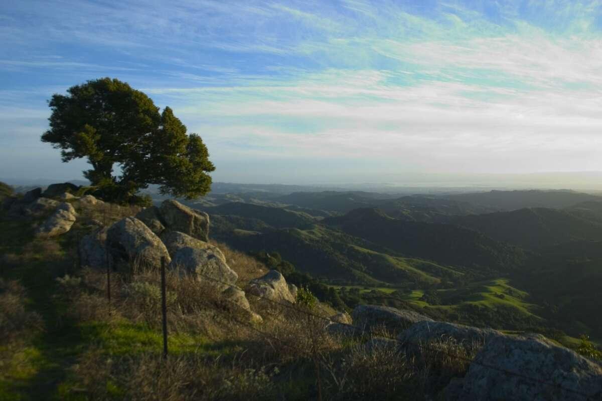 View at sunset from Rocky Ridge as Las Trampas Regional Wilderness near San Ramon Courtesy East Bay Regional Park District