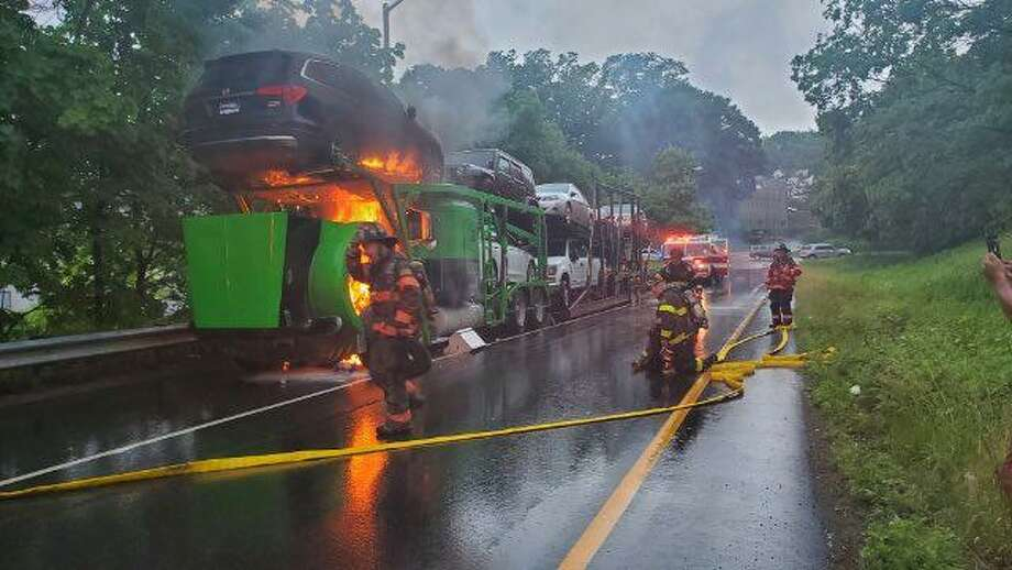 Units responded to the area of the I-84 eastbound Exit 5 entrance ramp in Danbury, Conn., for a tractor-trailer fire on Thursday, June 11, 2020. Photo: Contributed Photo / Danbury Fire Department