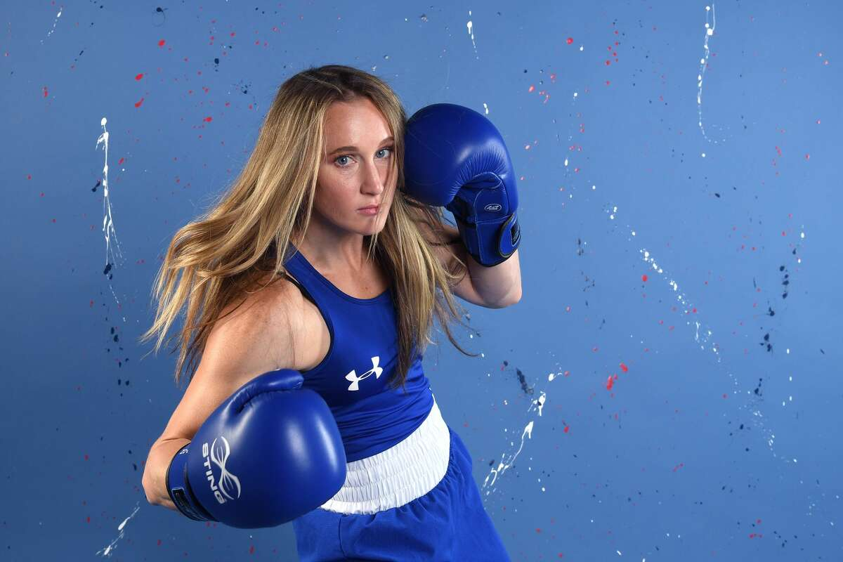 WEST HOLLYWOOD, CALIFORNIA - NOVEMBER 23: Boxer Ginny Fuchs poses for a portrait during the Team USA Tokyo 2020 Olympic shoot on November 23, 2019 in West Hollywood, California. (Photo by Harry How/Getty Images)