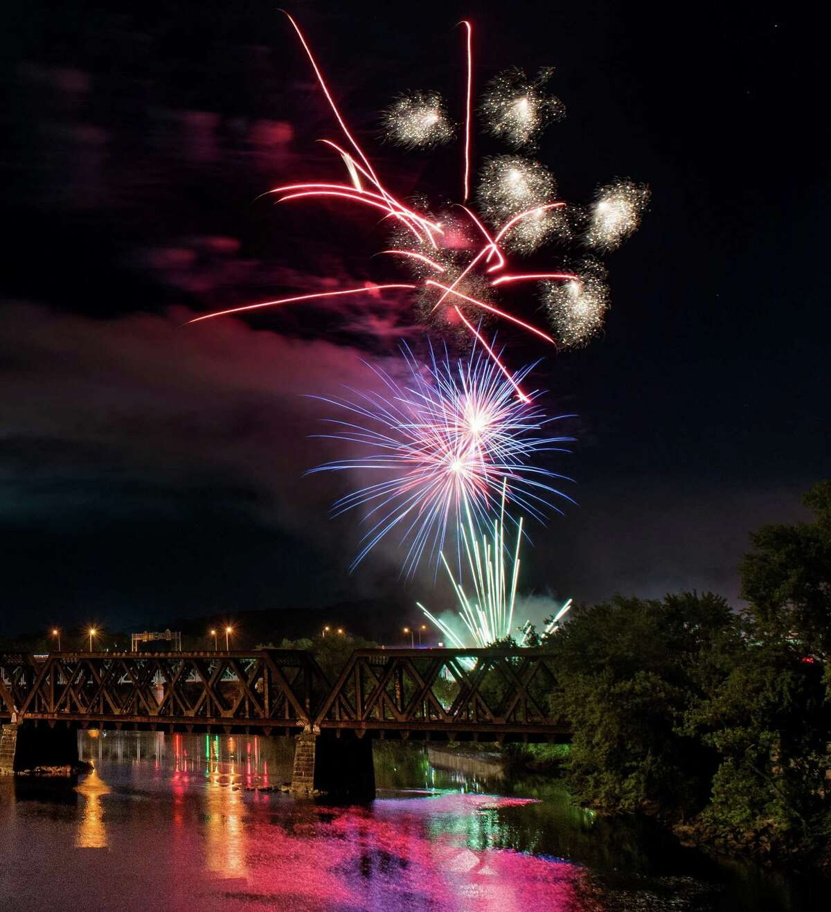 Shelton and Derby 4th of July celebration fireworks seen over the Housatonic River in Shelton, Conn. Shelton / Derby fireworks on Wednesday, July 3, 2019 in Shelton, Conn.