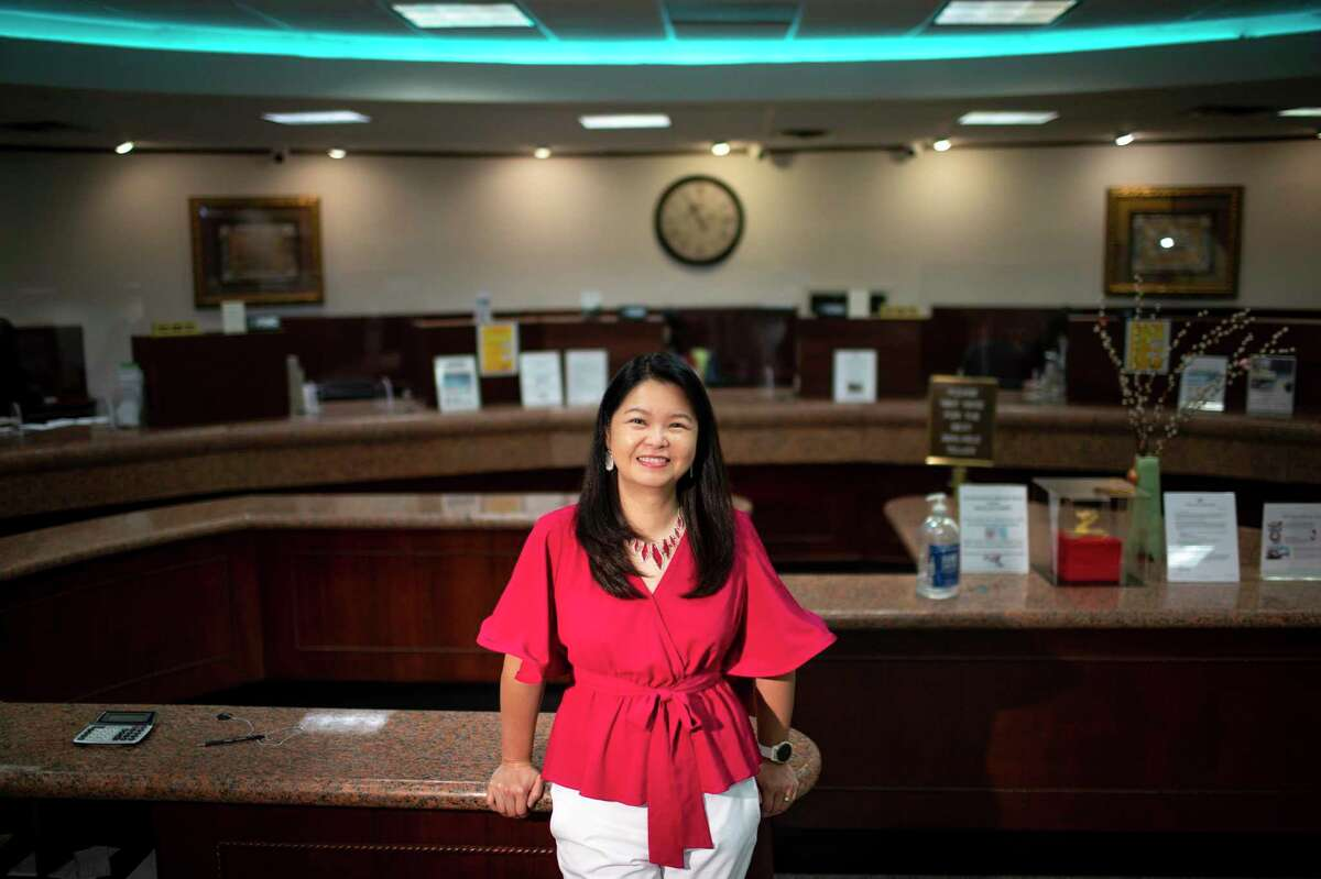 Jody Lee, bank chairwoman for Southestern National Bank, poses for a portrait at the bank Wednesday, June 10, 2020, in Houston.