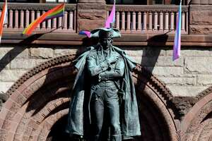 A statue of Gen. Philip Schuyler statue is displayed in front of Albany City Hall on Thursday, June 11, 2020, in Albany, N.Y. Mayor Kathy Sheehan announced Thursday that the city will be taking down the well known statue in response to calls about Schuyler's history as a slave owner. (Will Waldron/Times Union)