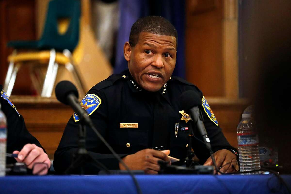 San Francisco Police Chief William Scott speaks during SF Police town hall, about recent officer involved shooting of Jamaica Hampton, at Cesar Chavez Elementary School in San Francisco, Calif., on Tuesday, December 17, 2019.