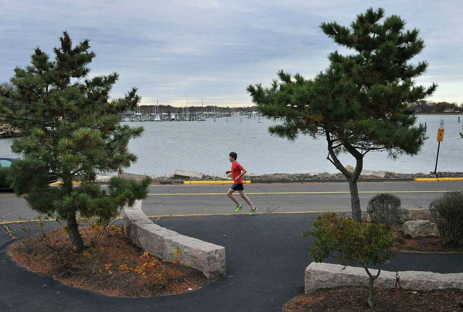 A runner makes his way along Branford Point. Photo: Hearst Connecticut Media File
