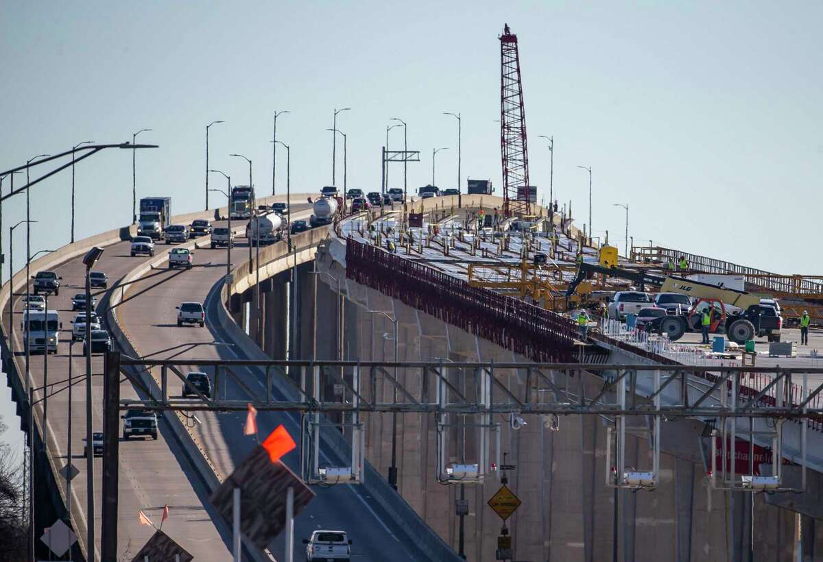 Construction of the new Ship Channel Bridge, seen Jan. 7, 2020, along the Sam Houston Tollway was halted last year. Concerns of sliding closed traffic Thursday on the adjacent bridge.