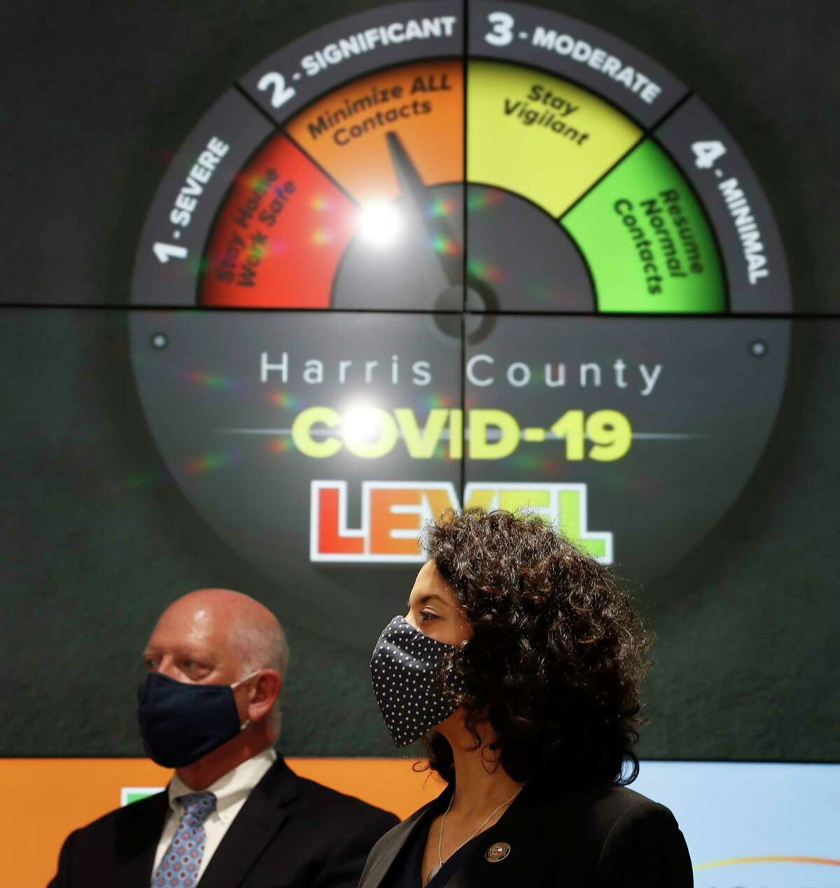 Harris County Judge Lina Hidalgo listens to Mayor Sylvester Turner speak at a press conference to announce that Harris County had reached level two-orange due to the increase in the number of coronavirus cases accounted for in the last days at Transtar, Thursday, June 11, 2020.