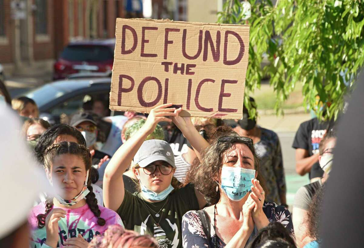 People rally in front of Schenectady City Hall calling on Mayor Gary McCarthy to make changes in the Schenectady Police Department on Thursday June 11, 2020 in Schenectady, N.Y. (Lori Van Buren/Times Union)