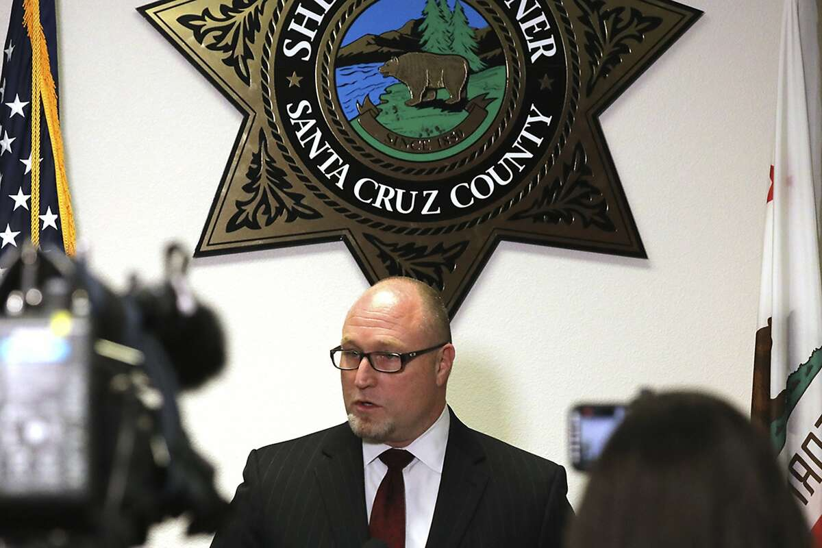 FBI Special Agent in Charge John Bennett speaks during a news conference Monday, June 8, 2020, in Santa Cruz, Calif., about the killing of Santa Cruz County Sheriff's Sgt. Damon Gutzwiller. An active-duty U.S. Air Force sergeant accused of killing Gutzwiller in an ambush-style attack was a leader for a military base's elite security force, officials said Monday. Staff Sgt. Steven Carrillo has been arrested on suspicion of fatally shooting Gutzwiller and wounding two other officers Saturday. He is expected to be charged with first-degree murder. (Shmuel Thaler/The Santa Cruz Sentinel via AP)