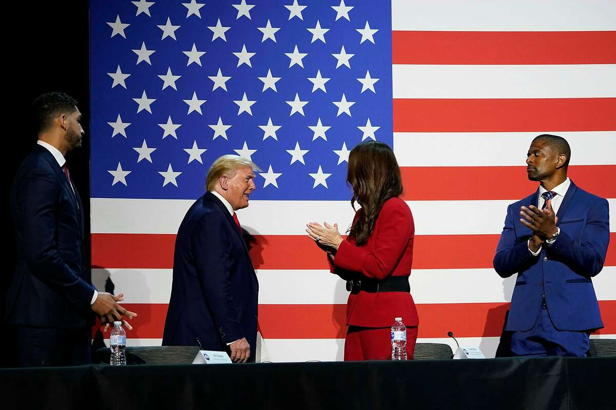 President Donald Trump arrives for a roundtable conversation about race relations and policing at Gateway Church Dallas Campus on Thursday, June 11, 2020, in Dallas. (Smiley N. Pool/The Dallas Morning News)