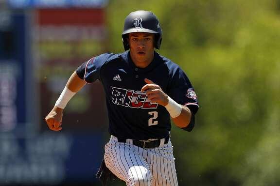 Rice University's Trei Cruz (2) runs the bases during an Middle Tennessee State University at Rice University NCAA college baseball game, Saturday, April 20, 2019, in Houston. (AP Photo/Aaron M. Sprecher)