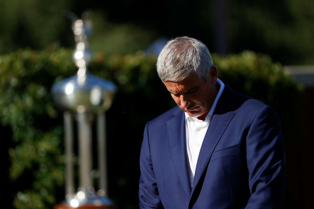 FORT WORTH, TEXAS - JUNE 11: PGA Tour Commissioner Jay Monahan leads a moment of silence to honor Geduring the first round of the Charles Schwab Challenge on June 11, 2020 at Colonial Country Club in Fort Worth, Texas. (Photo by Tom Pennington/Getty Images)