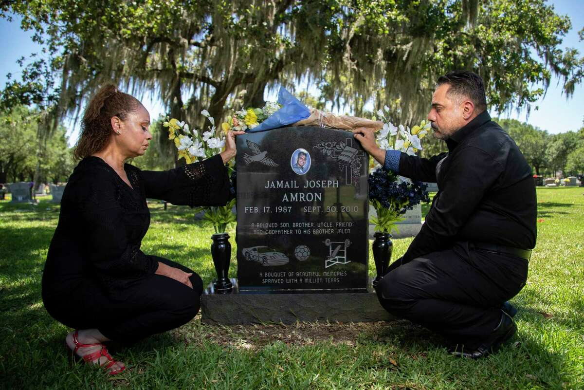 Jamail Amron's parents Barbara Coats and Ali Amron visit his grave on Thursday, June 11, 2020, in Humble. Jamail? Amron died suddenly following his arrest by Harris County officers in 2010. Jamail Amron, was allegedly beaten by Harris County officers, according to the civil lawsuit originally filed in 2012 against Harris County and Precinct 4 deputy constable Kevin B. Vailes by Amrom's parents.