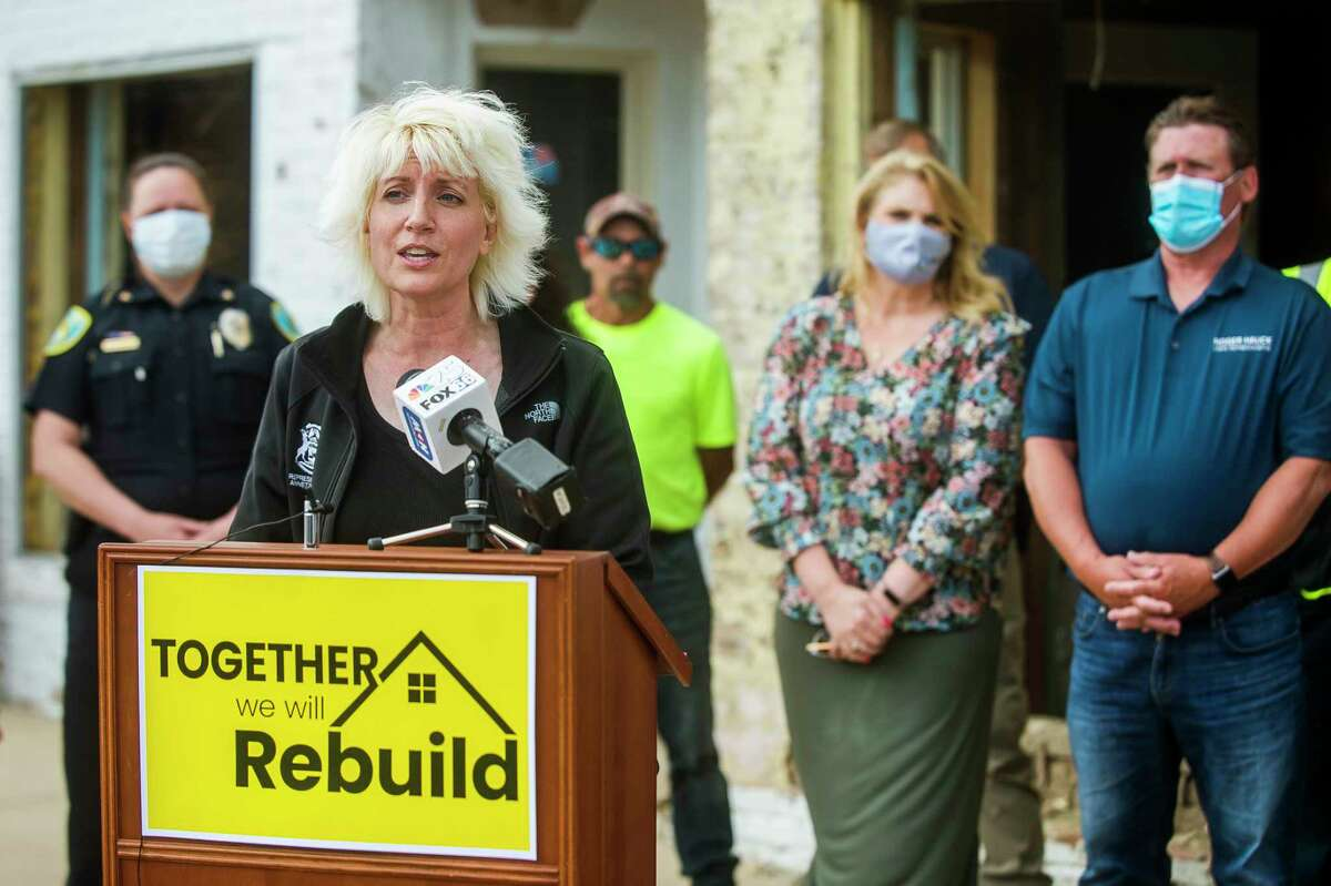 FILE - Rep. Annette Glenn speaks during a press conference in downtown Sanford, during which she announced House Bill No. 5843, which would appropriate $6 million to Midland County and the City of Midland to deal with the recent destruction and damage caused by the flooding of the Tittabawassee River. (Katy Kildee/kkildee@mdn.net)