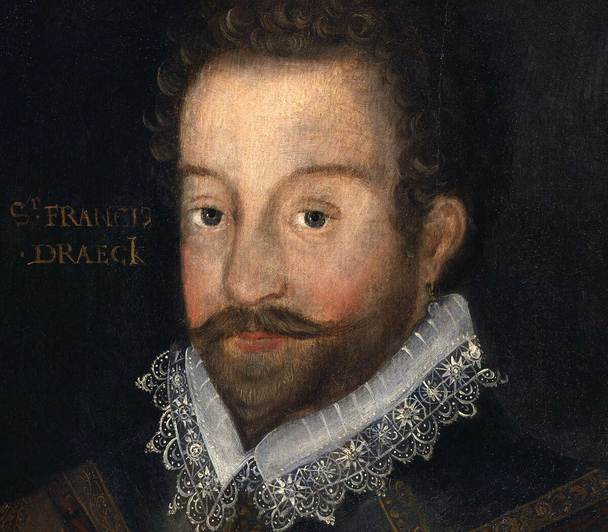Sir Francis Drake, after an engraving attributed to Jodocus Hondius. Circa 1583. Oil on panel.