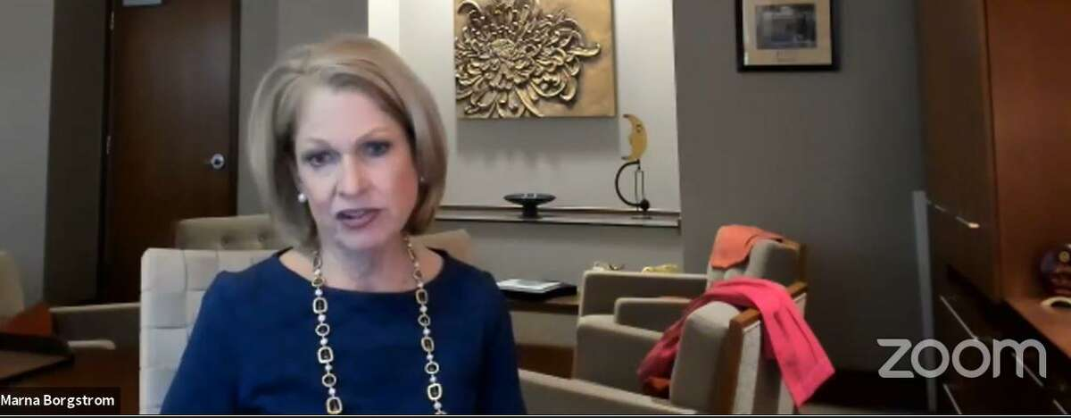 Marna Borgstrom, CEO of Yale New Haven Health System, speaks at an online press conference June 11, 2020.