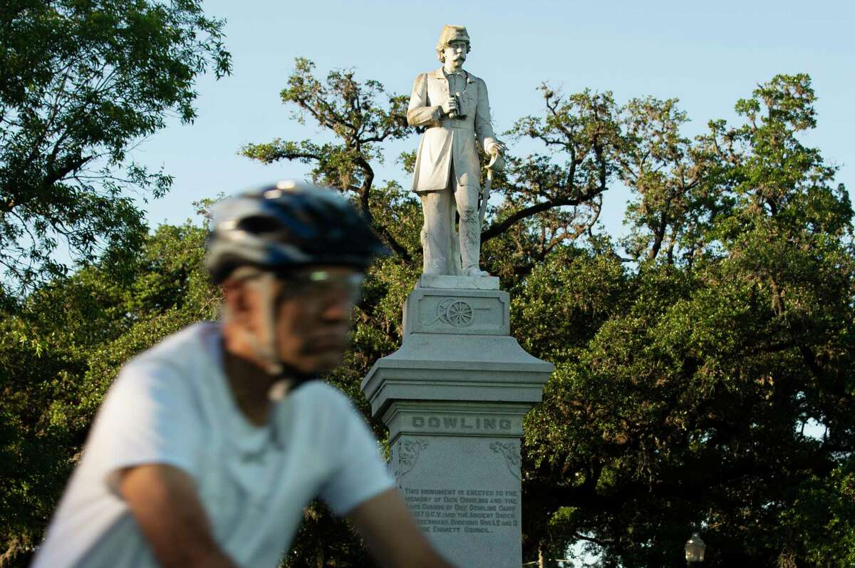 The Dick Dowling statue at Hermann Park is photographed Thursday, June 11, 2020, in Houston.