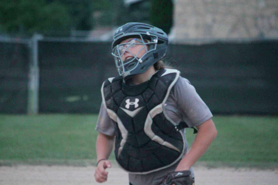 Catcher is among the positions Rylie Shafer plays for Reed City. Photo: Pioneer File Photo