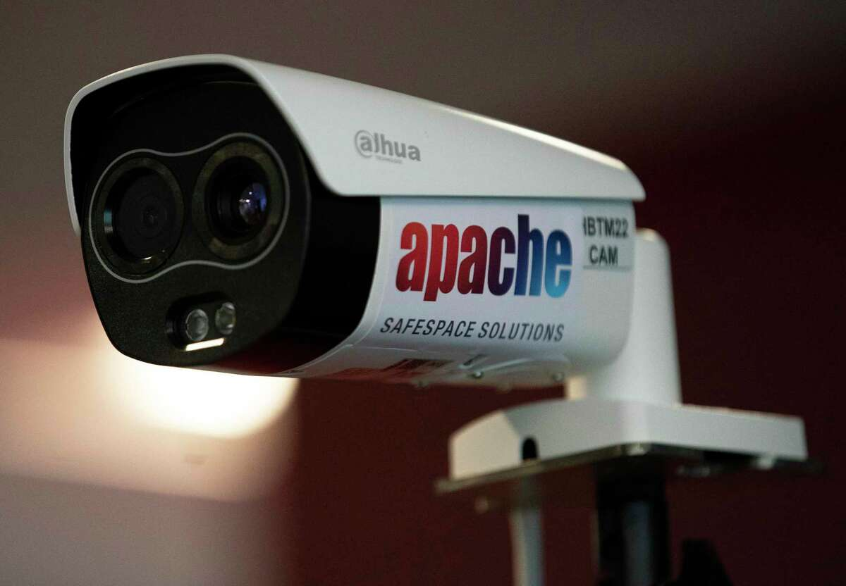Apache's new Mass Temperature Scan UV-C uses a camera to screen body temperature Thursday, June 11, 2020, in Houston. This device is consisted of a screening camera, a black body radiation calibration device and a screen. It can scan 5,000 people in 30 minutes, the company said.