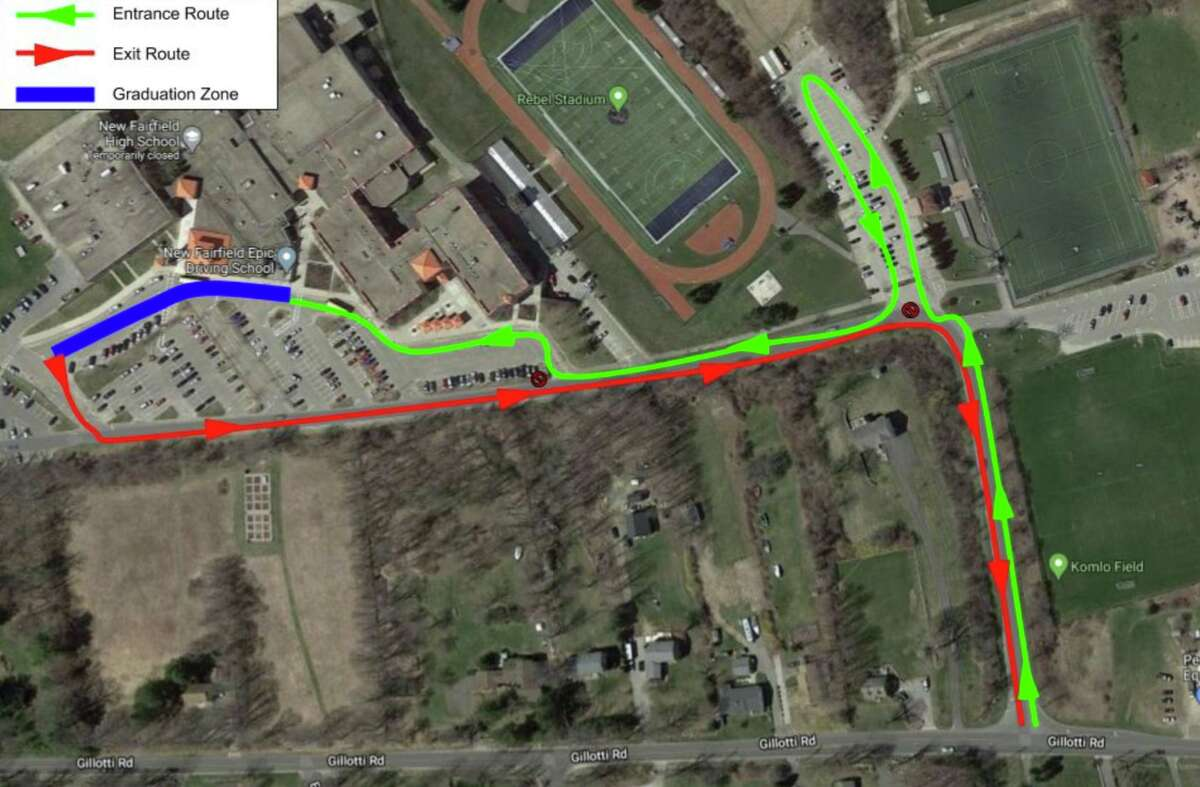 Map and route for New Faifield High School's diploma-awarding ceremony on Friday, June 12, 2020.