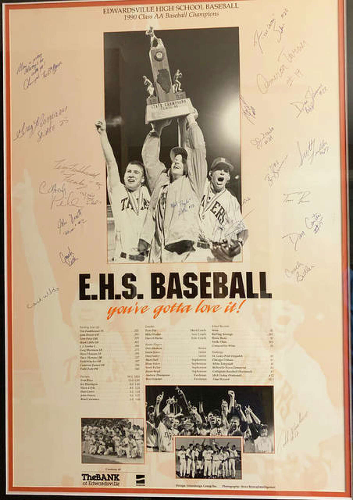 A poster of the 1990 state championship Edwardsville baseball team hangs in the house of Steve Flowers.