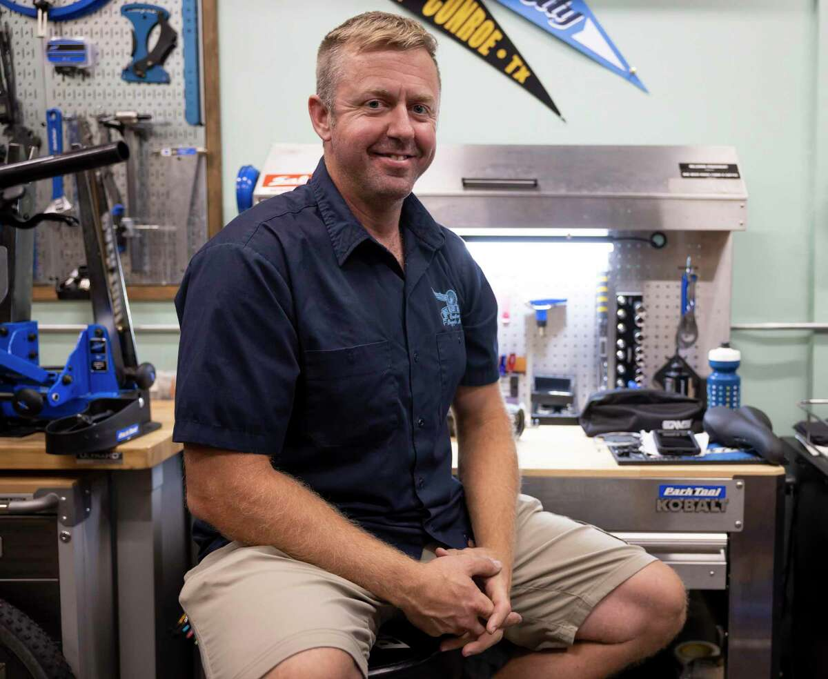 Gary Rogers poses for a portrait in his shop at Race Ready Repairs in downtown Conroe, Thursday, June 4, 2020. Rogers has seen a boom in sales since the COVID-19 pandemic started stating that more people are looking for different outdoor recreation activities.