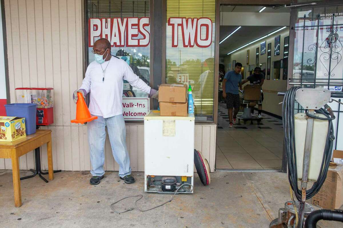 """""""I'd rather people be safe. It's not about the money,"""" said Joseph Hayes, manager of Phayes Two Barber Shop on W. Bellfort at S. Gessner. He deep cleaned the shop before a reopening on May 8 after being closed due to local shutdowns ordered to slow the spread of the coronavirus."""