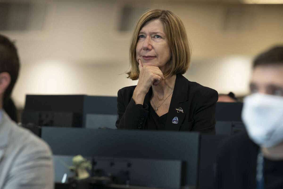 Kathy Lueders is NASA's new head of human spaceflight. In this photo from May 31, 2020, Lueders watches the docking of SpaceX's Crew Dragon spacecraft with NASA astronauts Doug Hurley and Bob Behnken onboard to the International Space Station. She was previously the manager of NASA's Commercial Crew Program.