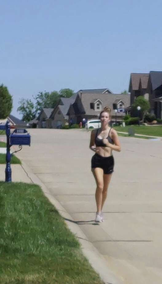 A screenshot of a video of Wallace running during her 24 for 24 challenge. Photo: Courtesy Of Brynne Wallace