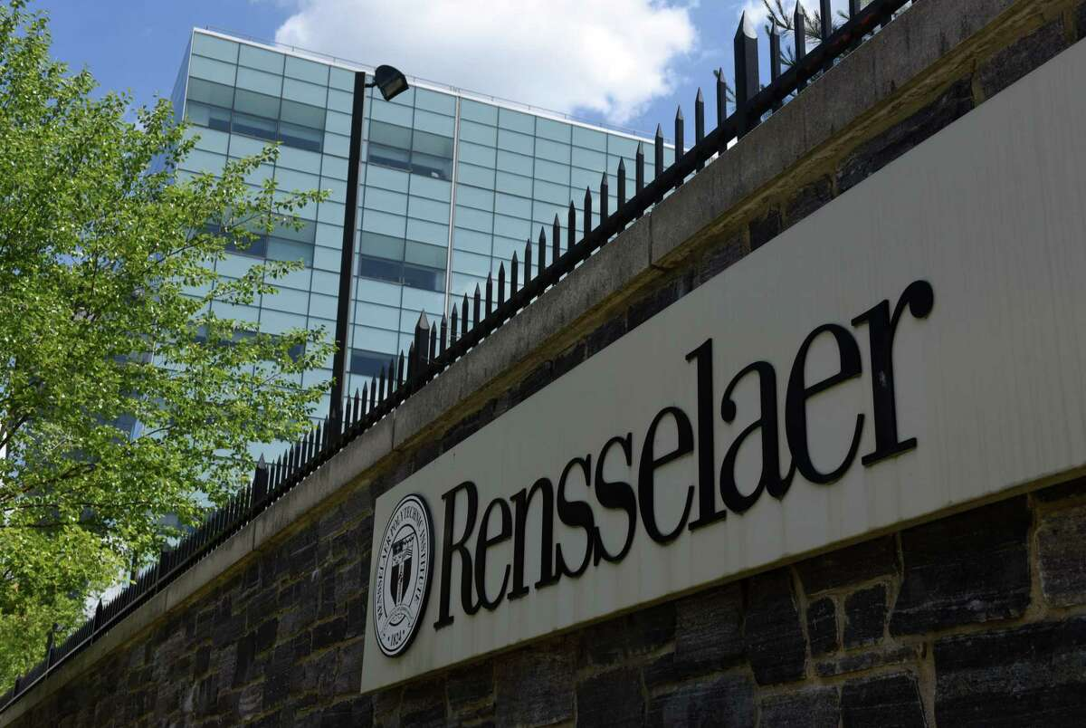 Signage marks the Rensselaer Polytechnic Institute campus on 8th Street on Friday, June 12, 2020, in Troy, N.Y. (Will Waldron/Times Union)