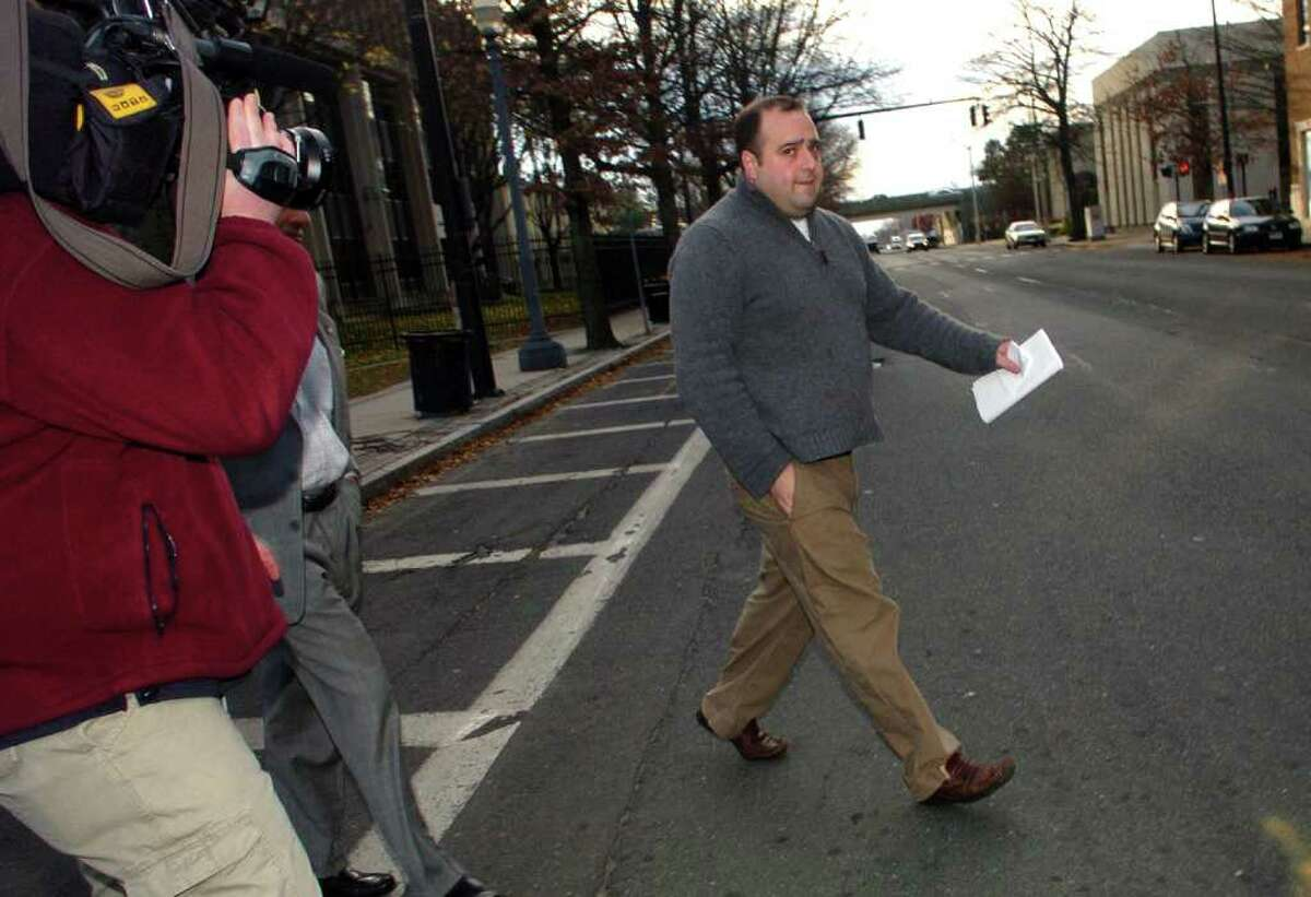 Michael Sohn, congressman Christopher Shays' former campaign manager, leaves federal court in Bridgeport in December 2009.