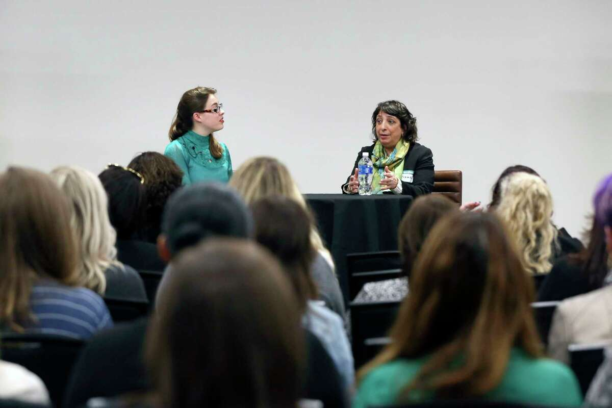 Women@Work Senior Editor Sara Tracey interviews guest Sonya del Peral, proprietor and manager of Nine Pin Cider Works, during The Women Who Lead event Wednesday, March 11, 2020 at the Hearst Media Center in Colonie.