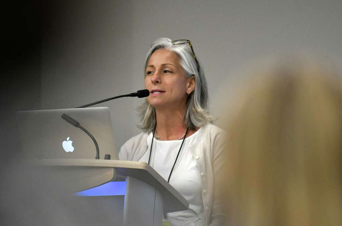 Eve Walter talks about the first View on Women poll during the Women@Work Summit at the Hearst Media Center on Wednesday, June7, 2017, in Colonie, N.Y. She recently wrote a national version of the survey. (Will Waldron/Times Union)