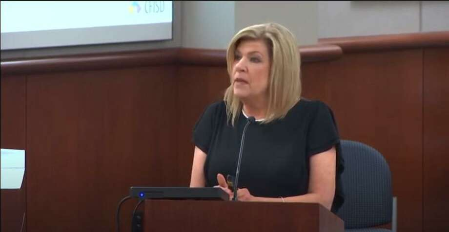 Karen Smith, chief financial officer for Cy-Fair ISD, presented the potential 2020-2021 budget for the school district during an in-person board of trustees meeting on June 11. Photo: Cy-Fair ISD