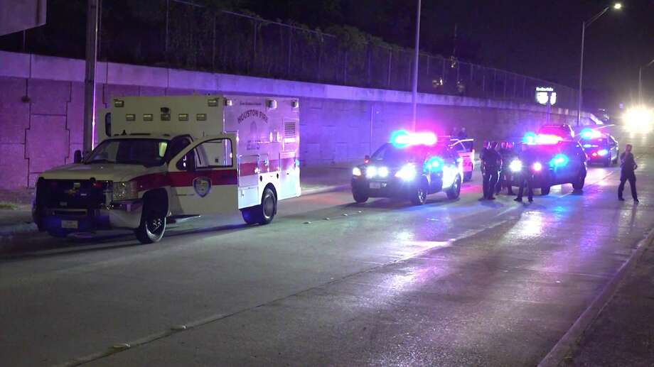 Houston police officers investigate after a 29-year-old allegedly stole a Houston Fire Department ambulance Friday, June 12, 2020. Photo: OnScene.TV