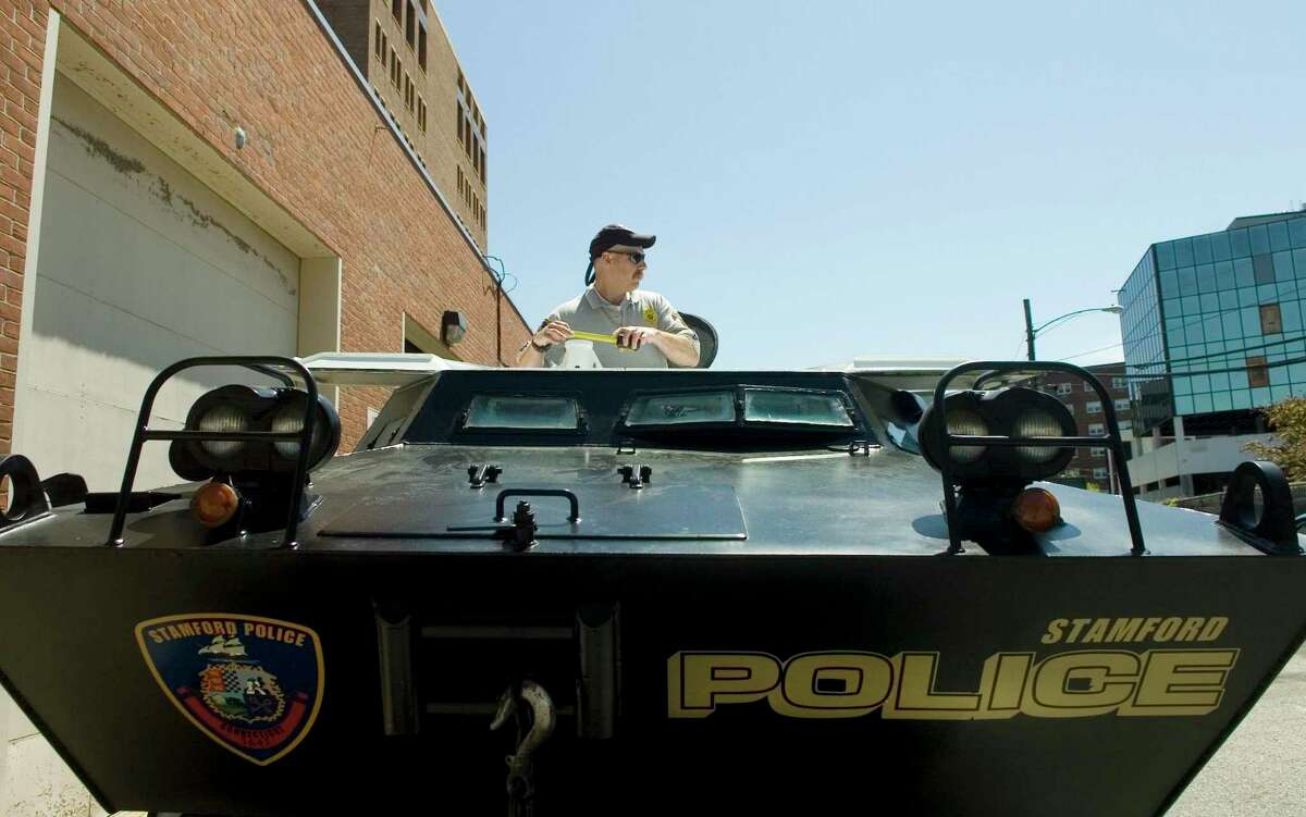An armored personnel carrier that was added to the Stamford Police Department in 2008.