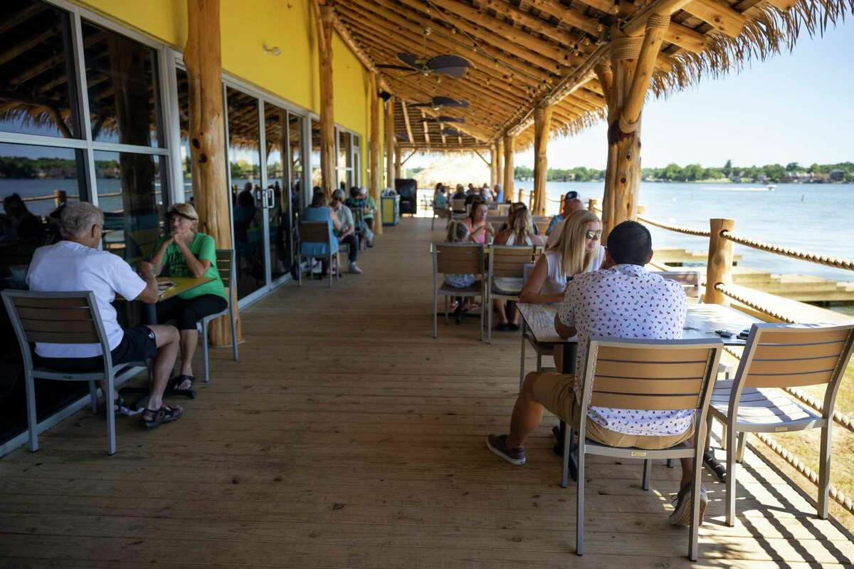 An outdoor patio was build at LandShark Bar & Grill in Lake Conroe to allow higher occupancy, Thursday, June 11, 2020. The restaurant currently operates at 50 percent capacity.